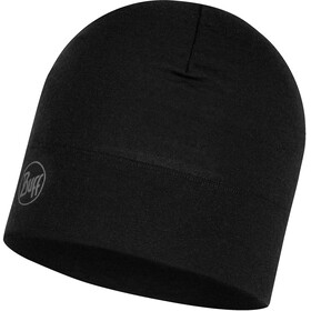 Buff Midweight Merino Wool Hat Solid Black